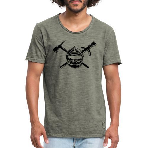 casque_pompier_hache et lance - T-shirt vintage Homme