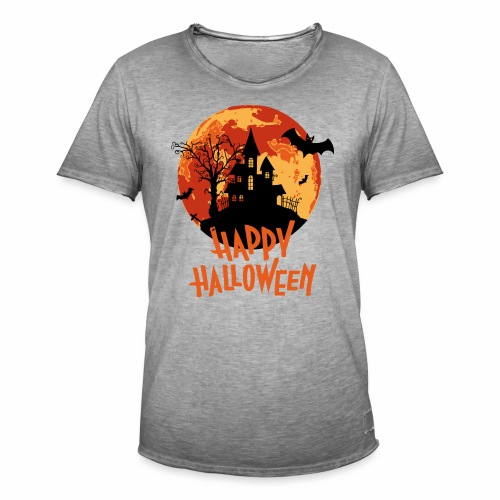 Bloodmoon Haunted House Halloween Design - Männer Vintage T-Shirt