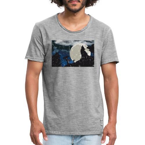 Wolf versus Mond - Männer Vintage T-Shirt