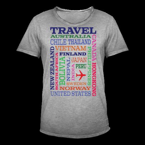 Travel Places design - Miesten vintage t-paita