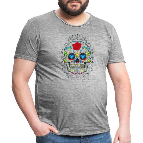 Rose und Diamantschädel - Männer Vintage T-Shirt