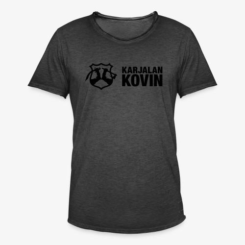 karjalan kovin logo vaaka musta - Miesten vintage t-paita