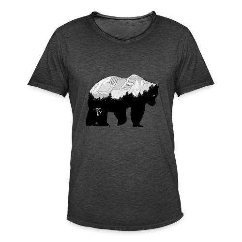 Geometric Mountain Bear - Maglietta vintage da uomo