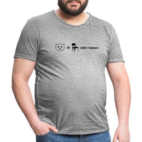 Katt åt stol - Vintage-T-shirt herr