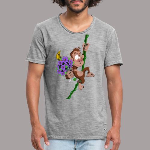 bouquet de fleurs - singe - T-shirt vintage Homme