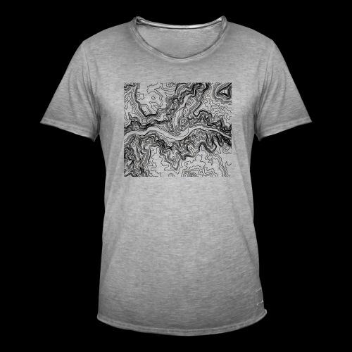 Hoehenlinien schwarz - Männer Vintage T-Shirt