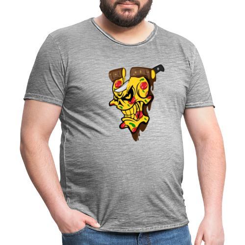 Pizza Schädel mit Messer - Männer Vintage T-Shirt