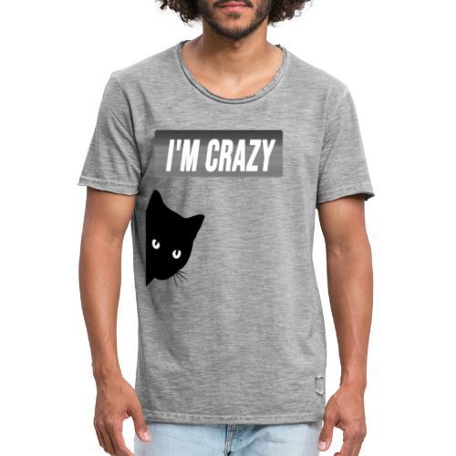 diseño gato con frase - Camiseta vintage hombre
