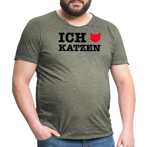 Ich liebe Katzen mit Katze als Herz - Männer Vintage T-Shirt
