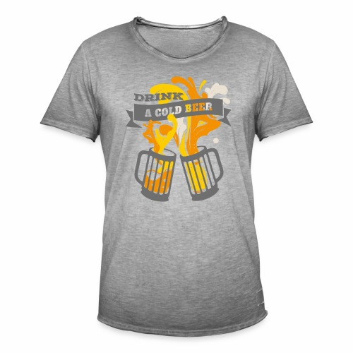 Drink a Cold Beer - Oktoberfest Volksfest Design - Männer Vintage T-Shirt