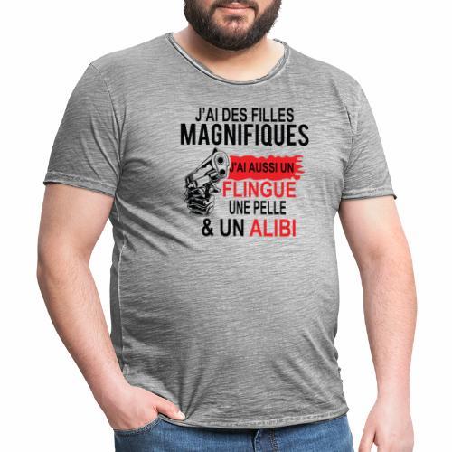 J'AI DEUX FILLES MAGNIFIQUES Best t-shirts 25% - T-shirt vintage Homme