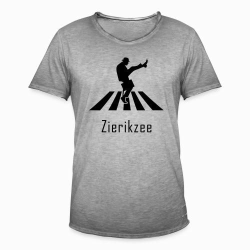 Silly walk zebrapad verkeersbord Zierikzee Zeeland - Mannen Vintage T-shirt