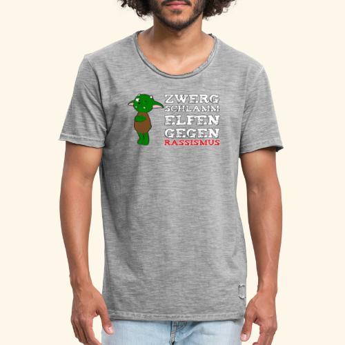 Zwergschlammelfen gegen Rassismus (weiße Schrift) - Männer Vintage T-Shirt