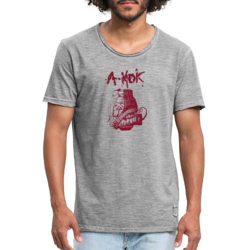 AMOK Grenade Logo Rot - Männer Vintage T-Shirt