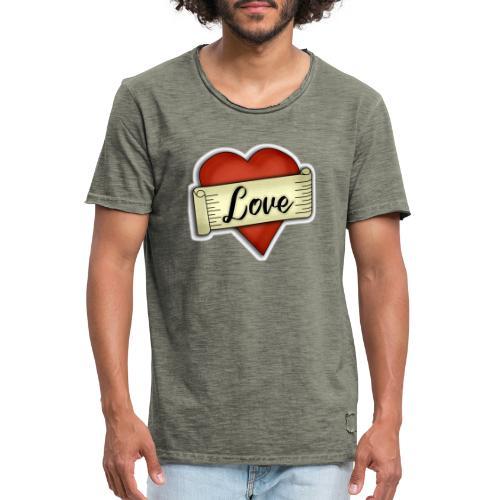 Love cœur tatouage - T-shirt vintage Homme