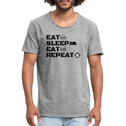 eat sleep eat repeat - T-shirt vintage Homme