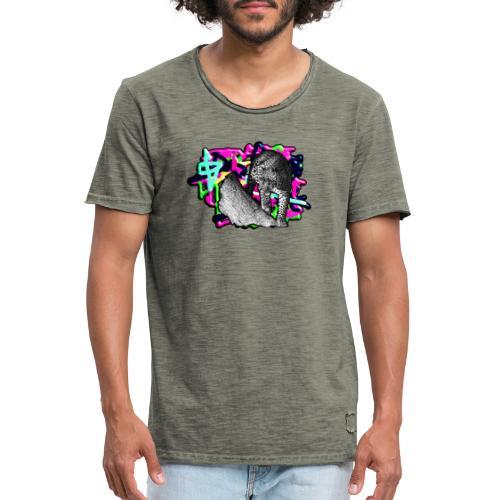 Leopard auf Bunt - Männer Vintage T-Shirt