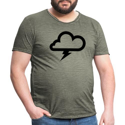 Wolke mit Blitz - Männer Vintage T-Shirt