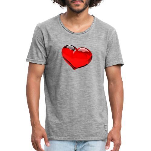 serce 3D - Koszulka męska vintage