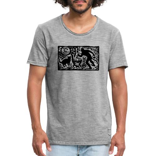 Teufel mit Katze - Männer Vintage T-Shirt