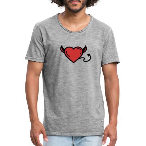 Printful heart devil - T-shirt vintage Homme