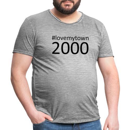 lovemytown2000zwart - Mannen Vintage T-shirt