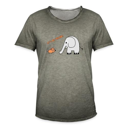 Elephant and mouse, friends - Men's Vintage T-Shirt