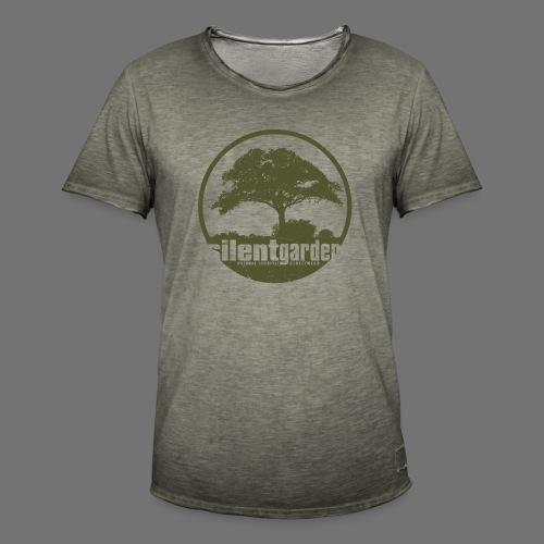 hiljainen puutarha (vihreä oldstyle) - Miesten vintage t-paita
