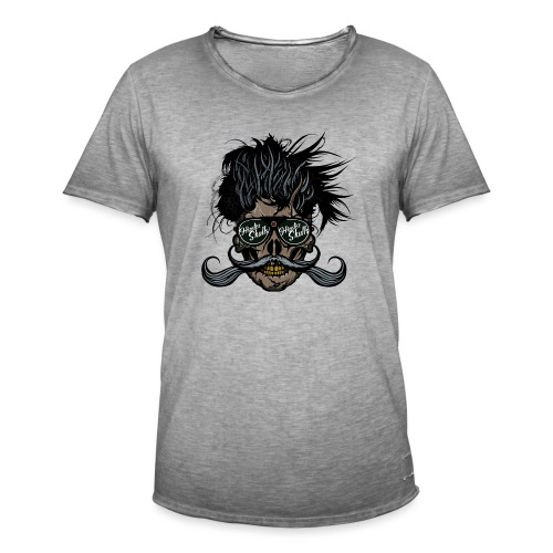 hipster skull tete de mort crane barbu moustache - T-shirt vintage Homme