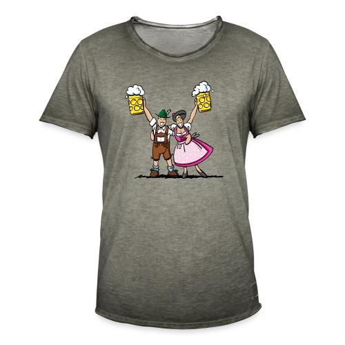 Fröhliches Oktoberfest Paar mit Bierkrug - Männer Vintage T-Shirt