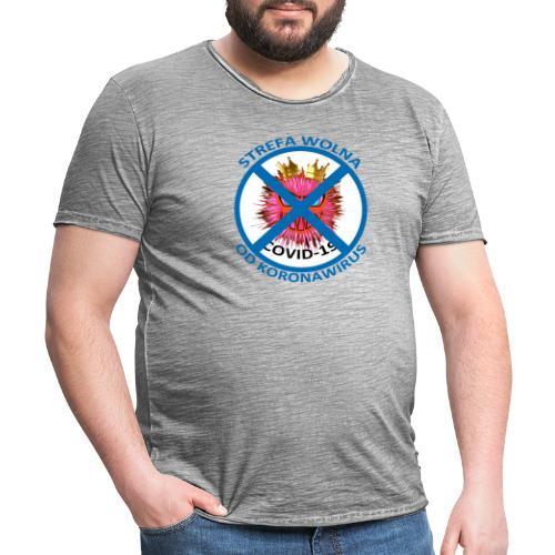 Strefa wolna od Koronawirus - Koszulka anty COVID - Koszulka męska vintage