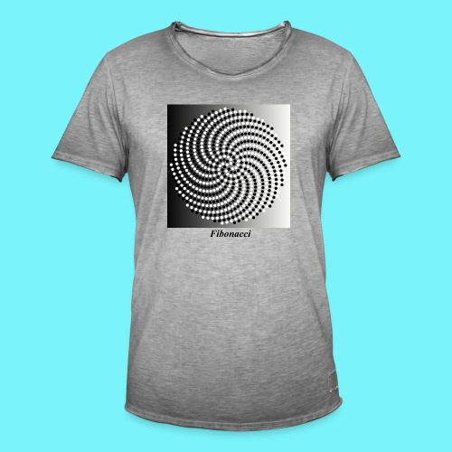 Fibonacci spiral pattern in black and white - Men's Vintage T-Shirt