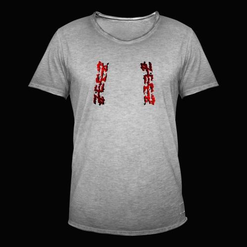 zeez rouge ombre noir abimé - T-shirt vintage Homme