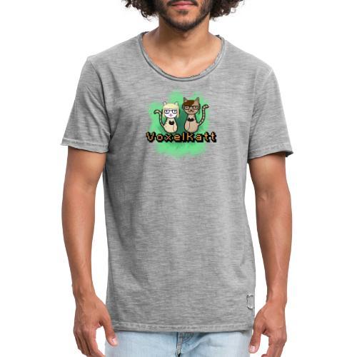 Voxelkatt retro logo - Vintage-T-shirt herr