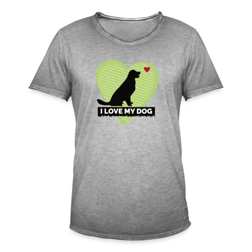 I LOVE MY DOG HEART - Men's Vintage T-Shirt