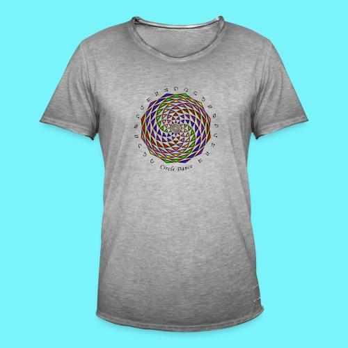 Mandala with Circle Dance words and glyphs - Men's Vintage T-Shirt