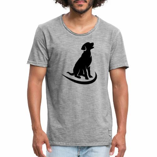 siluetta perro logo colores - Camiseta vintage hombre