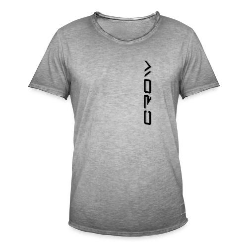 CROW TEXT VERTICAL BLACK T-SHIRT - Men's Vintage T-Shirt
