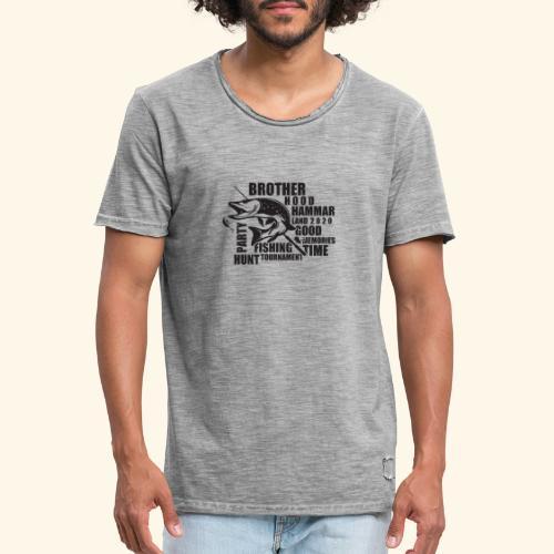 Pikefishing Black - Vintage-T-shirt herr