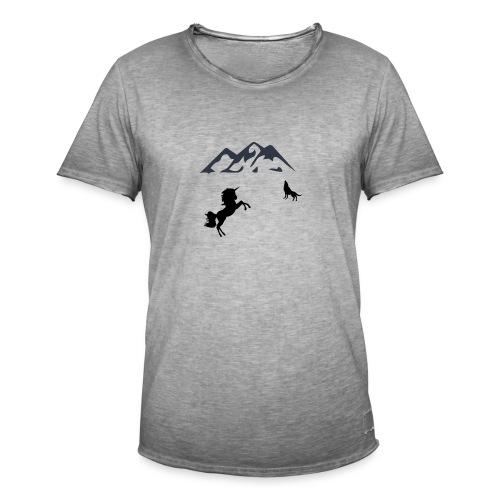 Einhorn mit Wolf in den Bergen - Männer Vintage T-Shirt