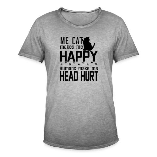Cat makes happy Katzen machen glücklich - Männer Vintage T-Shirt