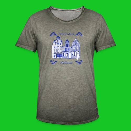 Holland Grachtenpanden Delfts Blauw - Mannen Vintage T-shirt