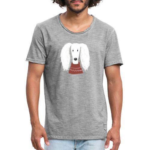 Saluki im Pulli - Männer Vintage T-Shirt
