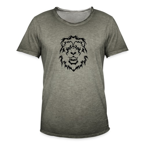 Karavaan Lion Black - Mannen Vintage T-shirt
