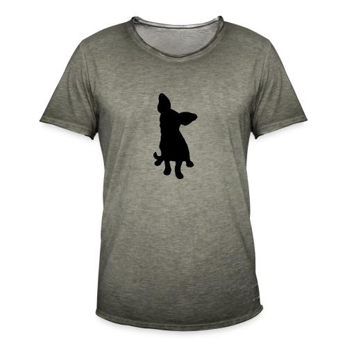 Chihuahua istuva musta - Miesten vintage t-paita
