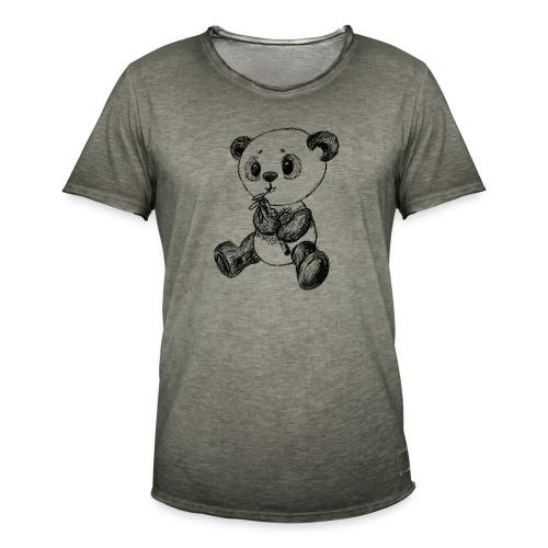 Panda bjørn sort scribblesirii - Herre vintage T-shirt