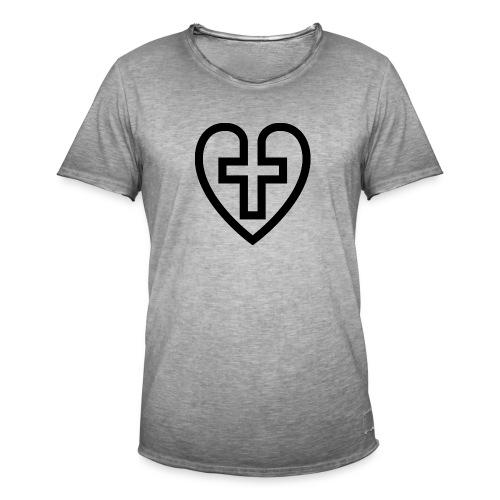 Symboliskt kristet kors i ett hjärta - Vintage-T-shirt herr