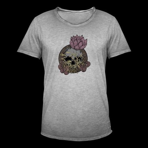 Skull tête de mort et fleur de lotus - T-shirt vintage Homme