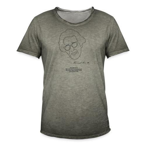 Hannah Arendt Sketch and Quote black - Männer Vintage T-Shirt