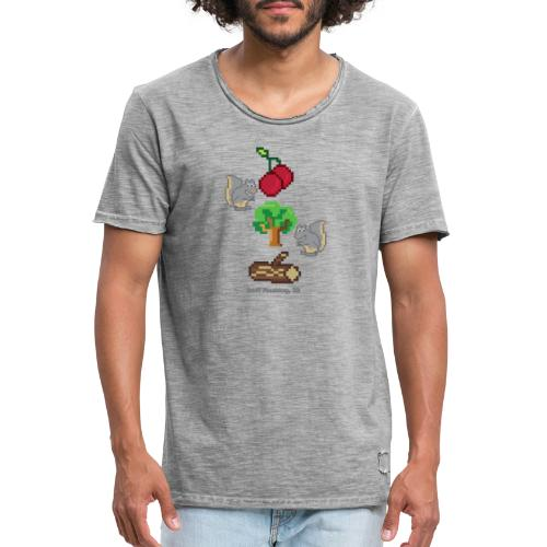 8 Bit Style Cherry Tree Wood Graphic - Men's Vintage T-Shirt